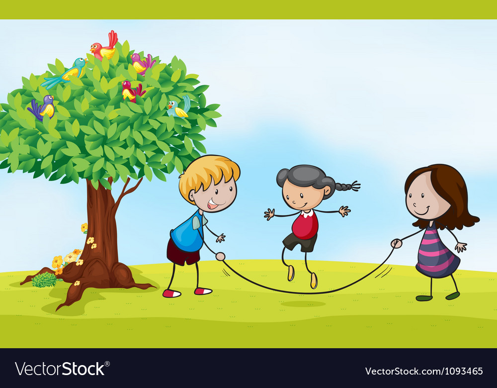 Playing in the park vector