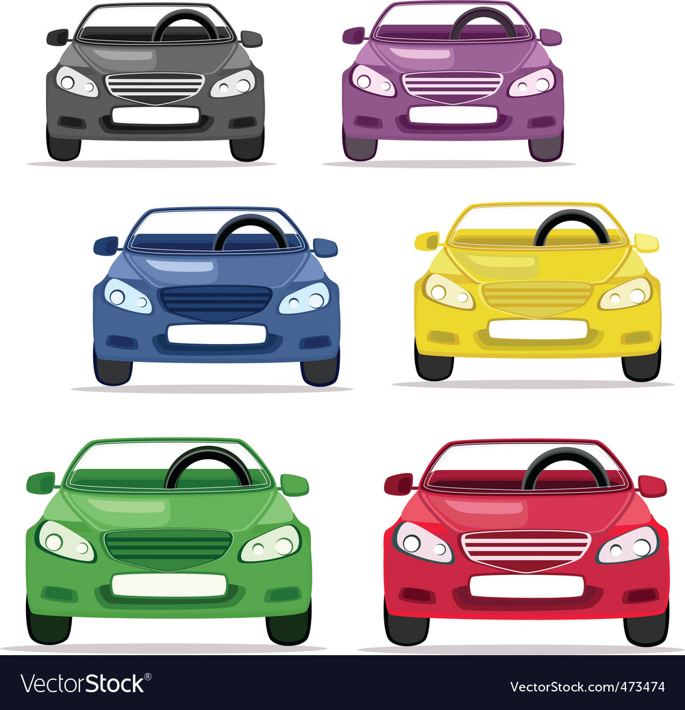 Car convertible in different colors vector