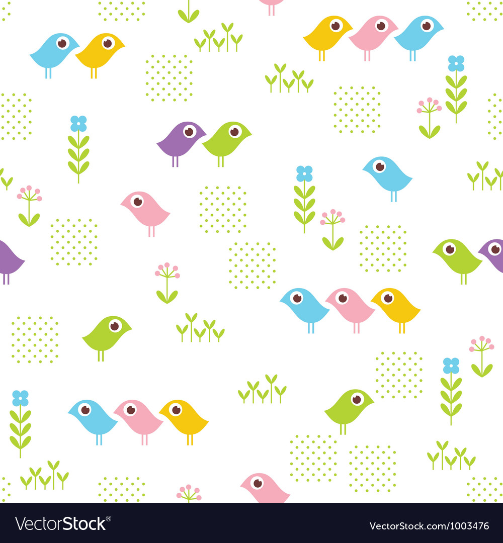 Seamless floral pattern with funny birds vector