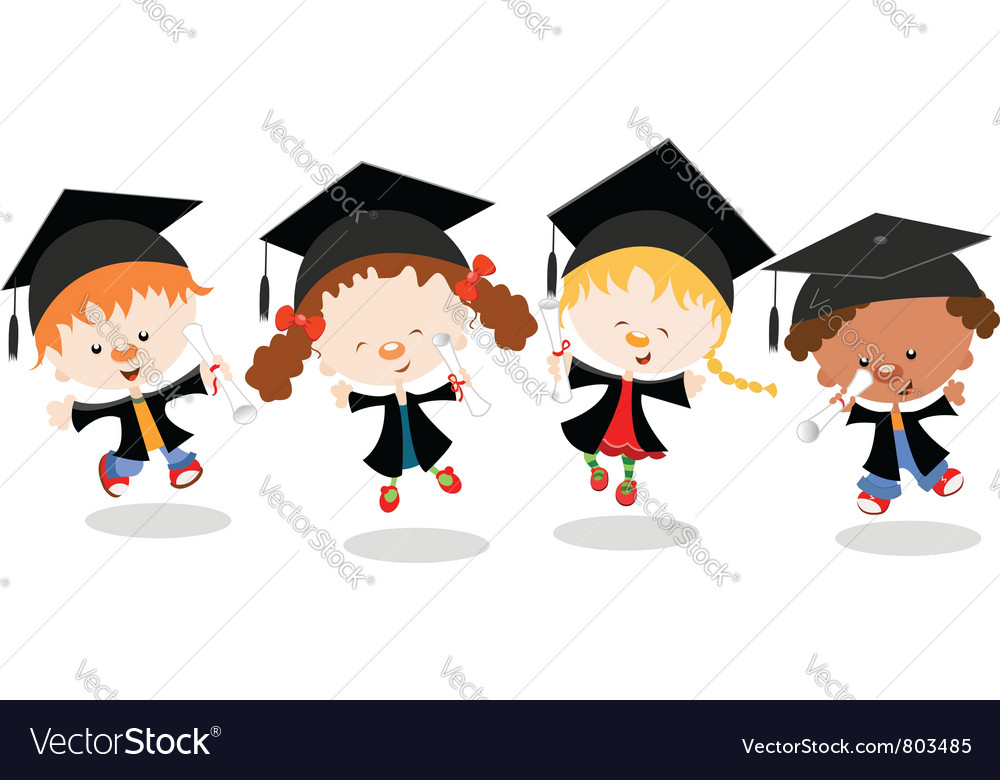 Graduated kids vector