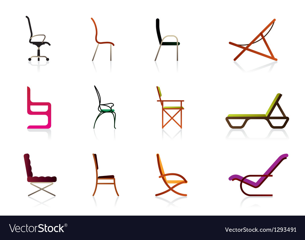 Office interior plastic and luxury chairs vector