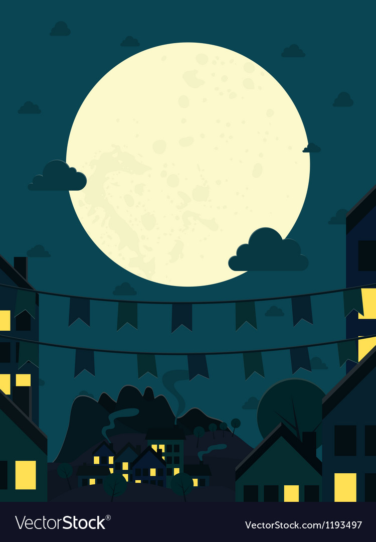Night small town with big moon vector