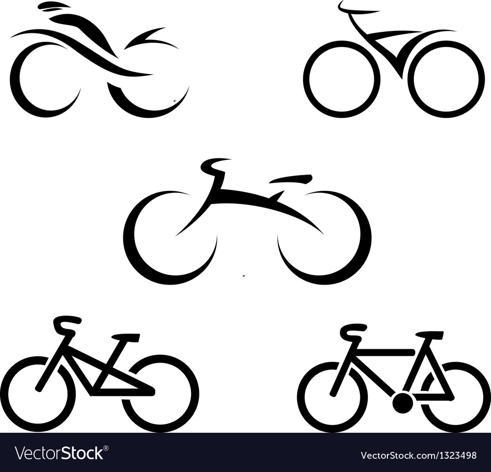 Set of icons with stylized bikes vector