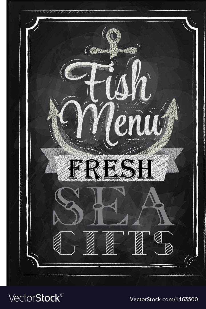 Poster fish menu fresh sea gifts chalk vector