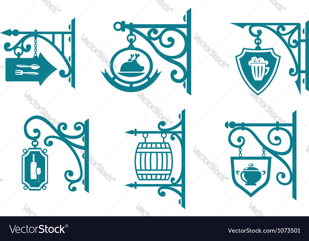 Vintage signs of pubs taverns and restaurants vector