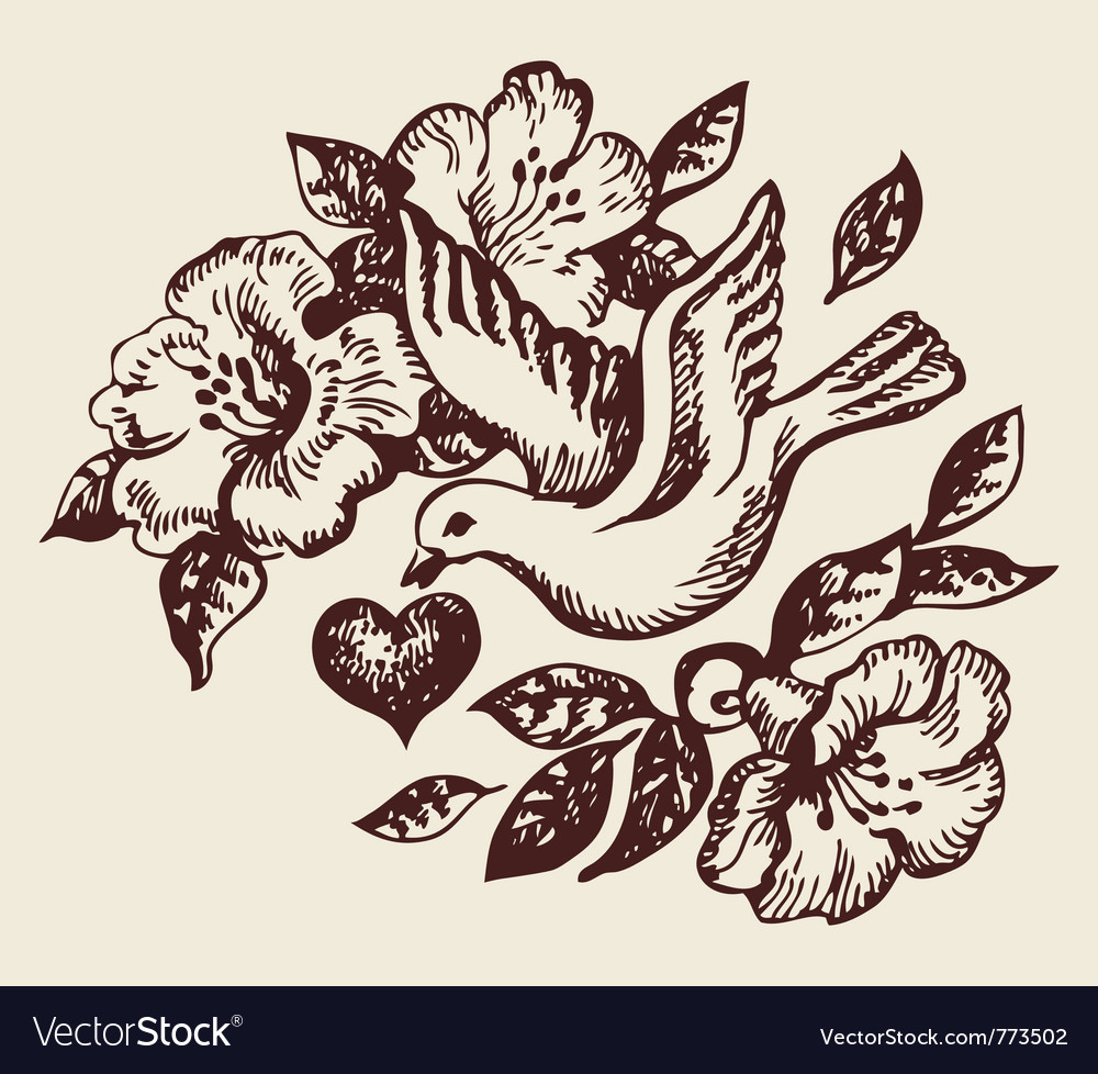 Bird with heart vector