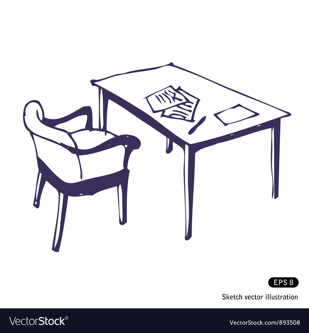 Desk and chair vector