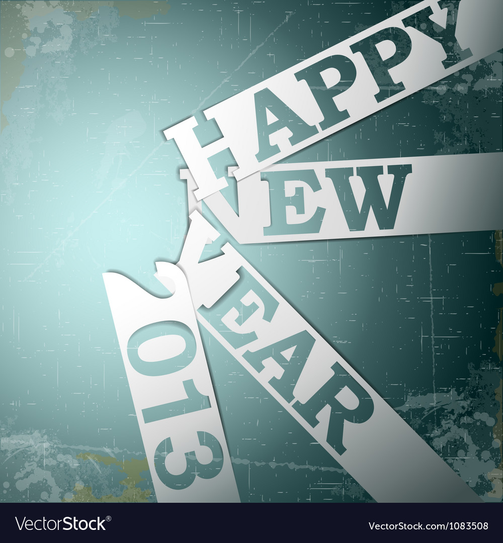 Happy new year paper strips with shadows on grunge vector