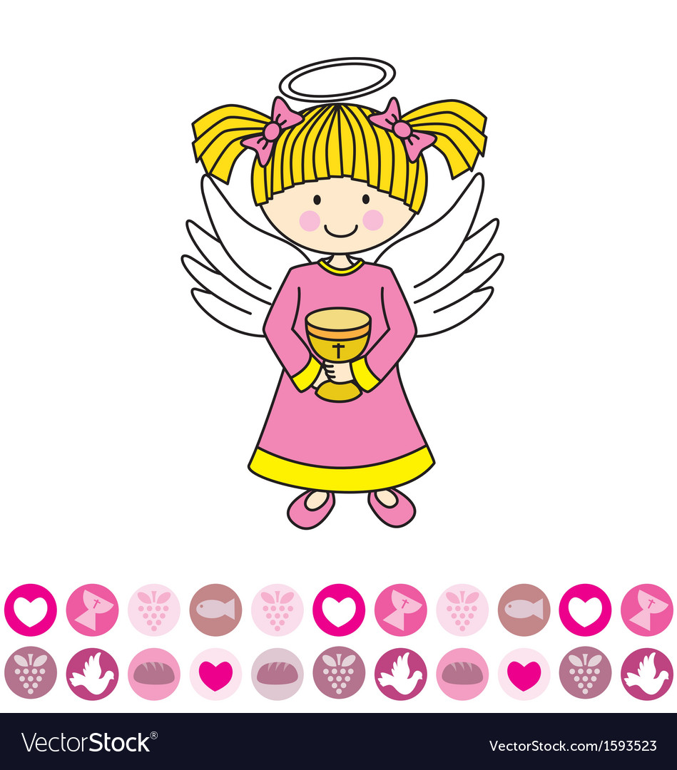 Angel with a chalice vector