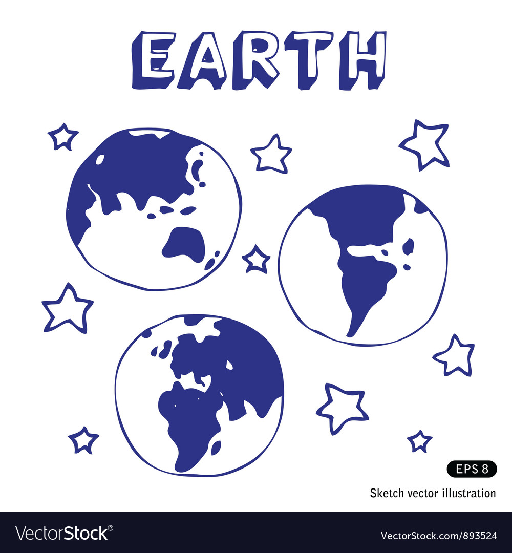 Earth and stars vector