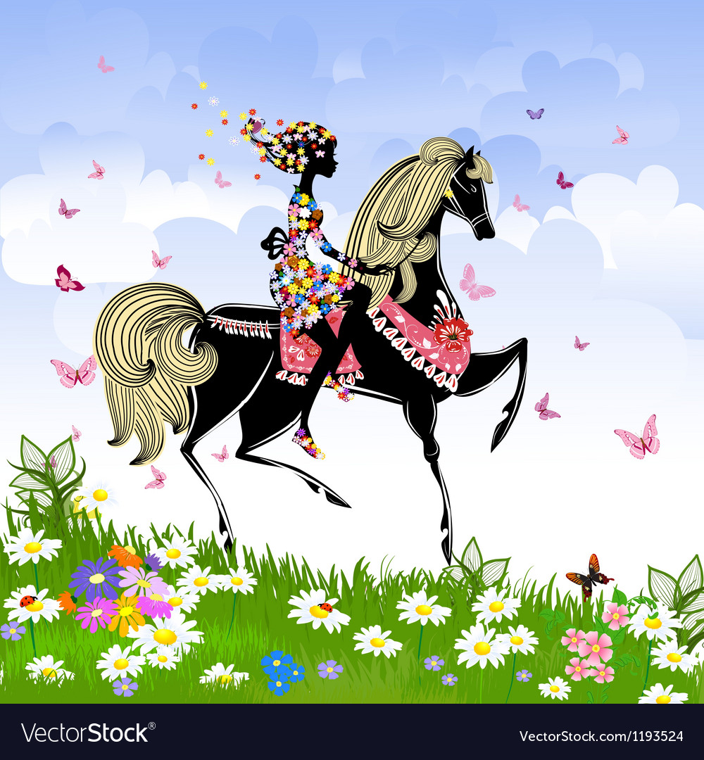 Khokhloma horse girl pattern vector