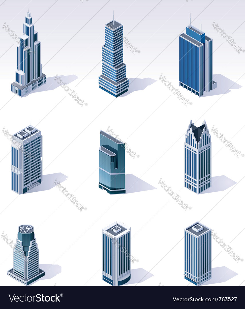 Isometric buildings skyscrapers vector