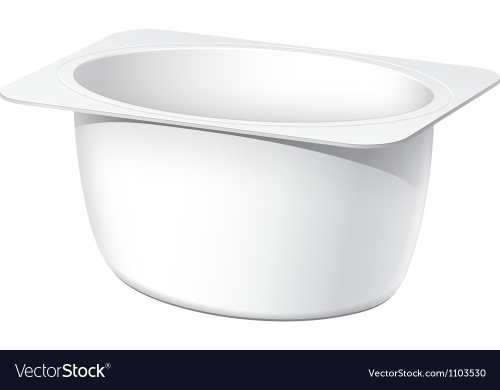 Realistic white blank plastic container for yogurt vector