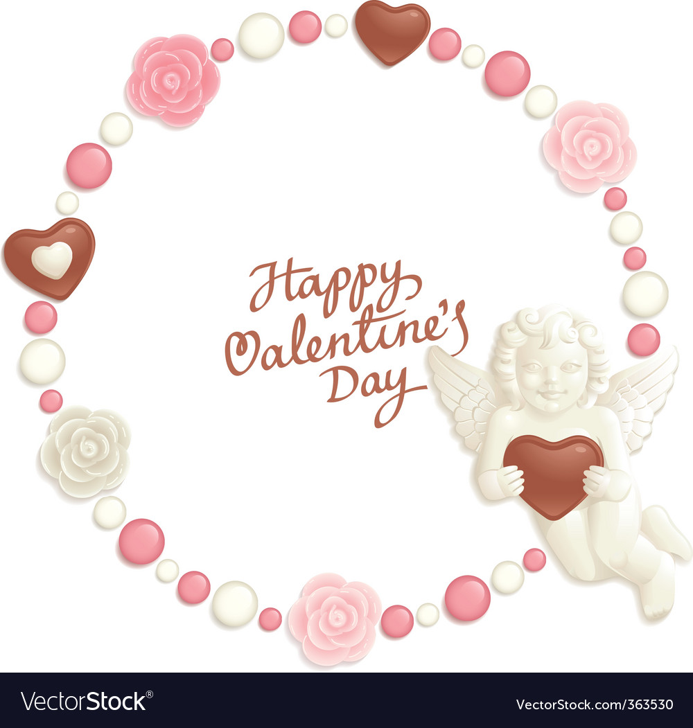 Valentine candy frame vector