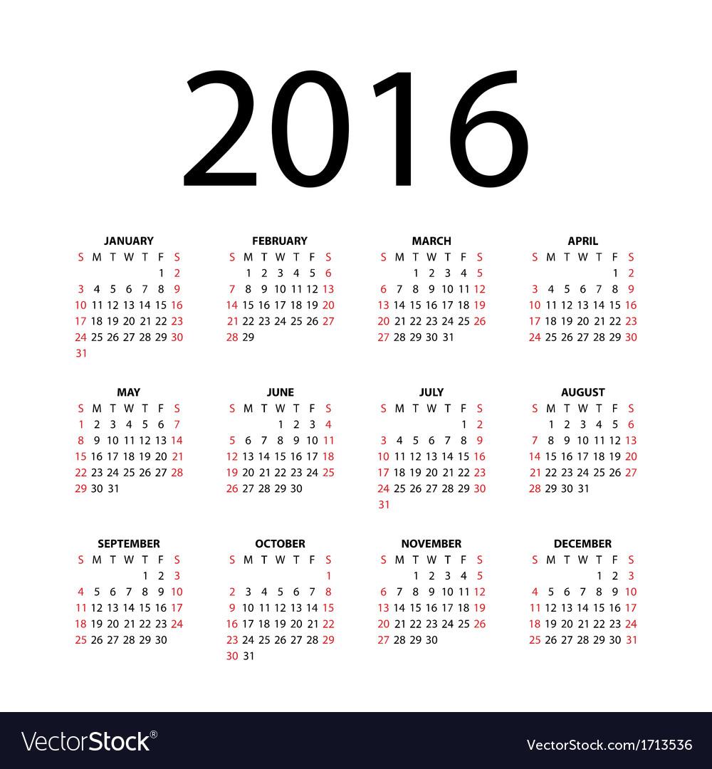 Calendar for 2016 vector by AlexDemeshko - Image #1713536 ...