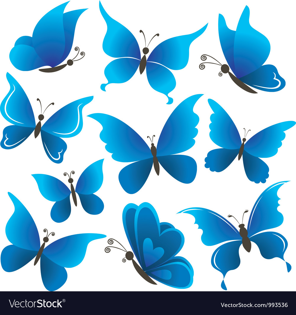 Set butterflies vector