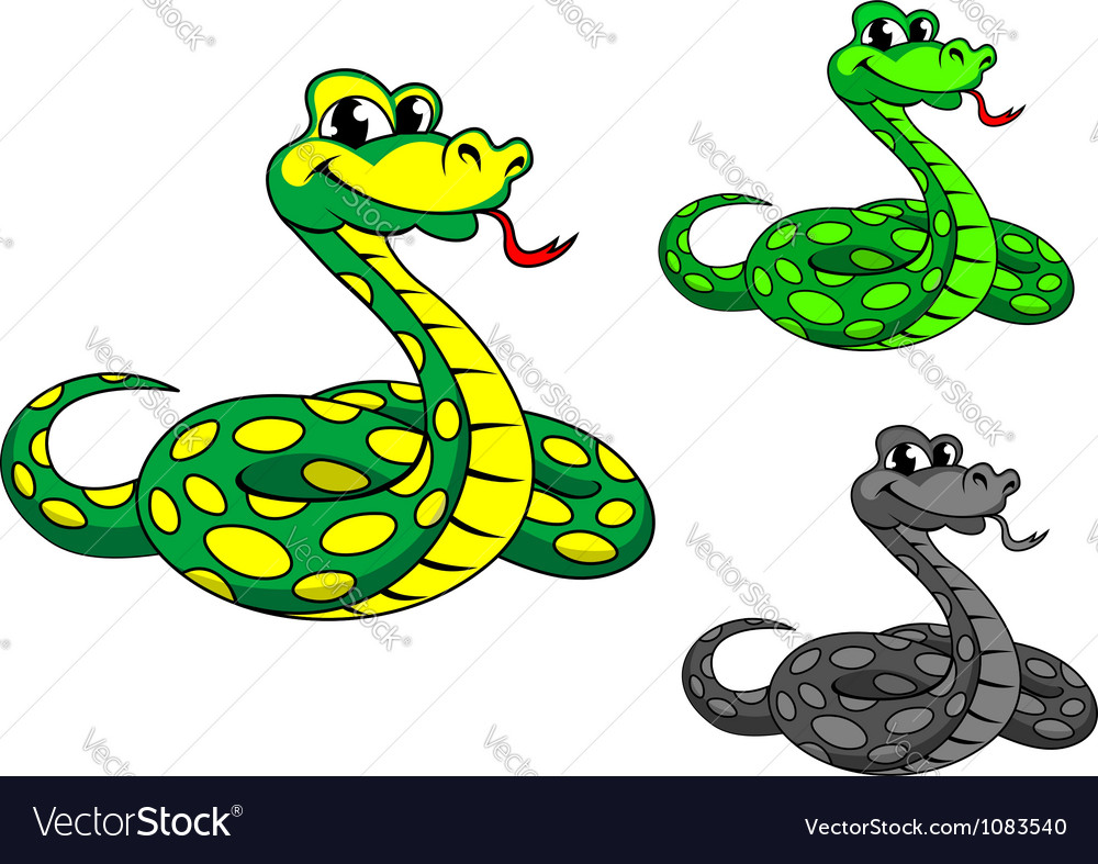 Funny cartoon python snake vector