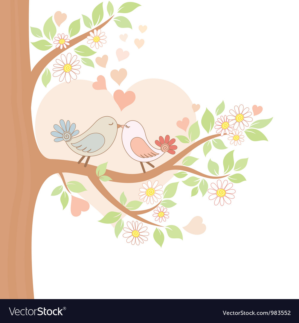 Two kissing birds on the tree vector
