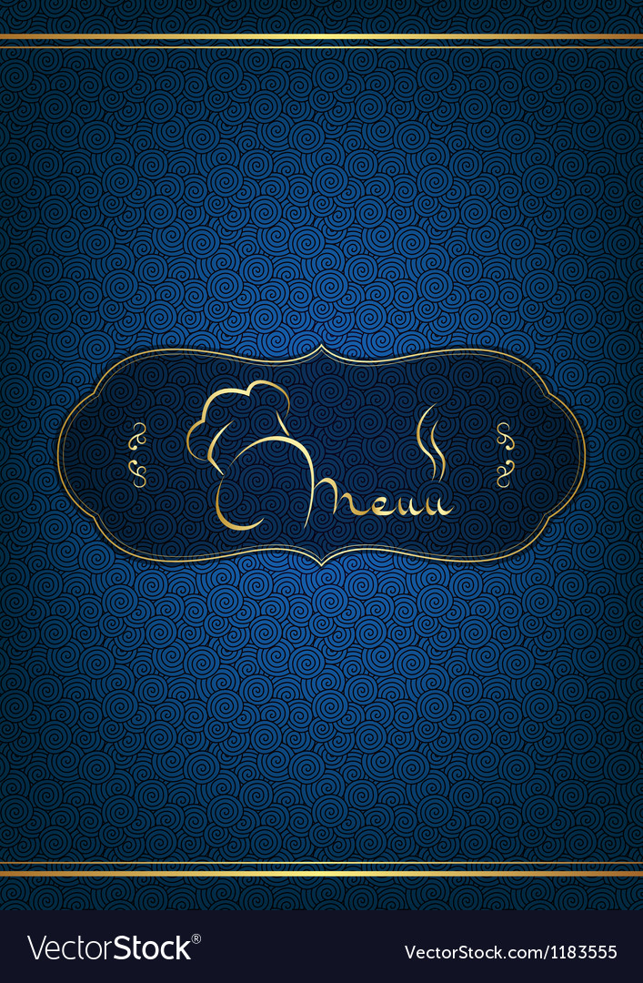 Blue restaurant menu cover vector