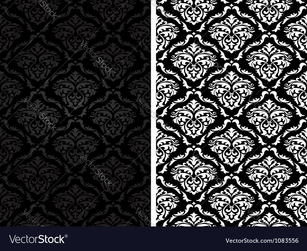 Vintage damask seamless backgrounds vector