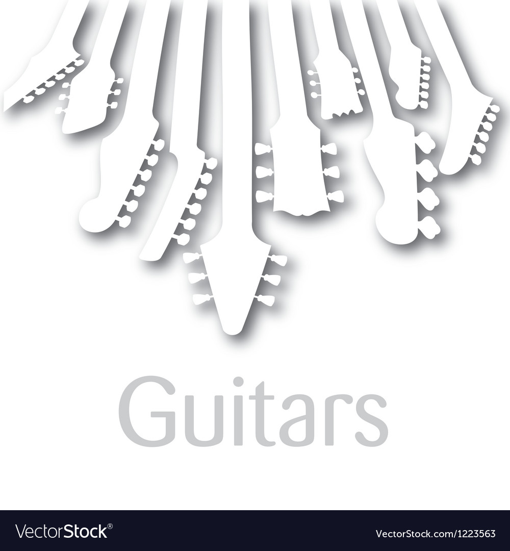 Background with guitar headstocks vector
