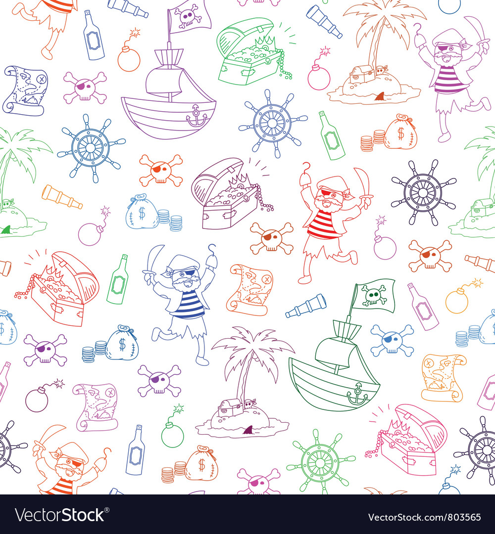 Pirates pattern vector