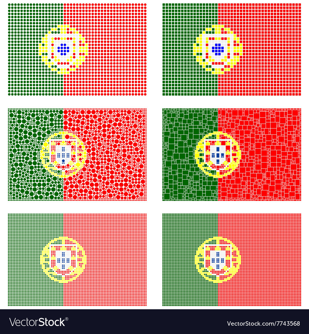 Mosaic portugal flag set