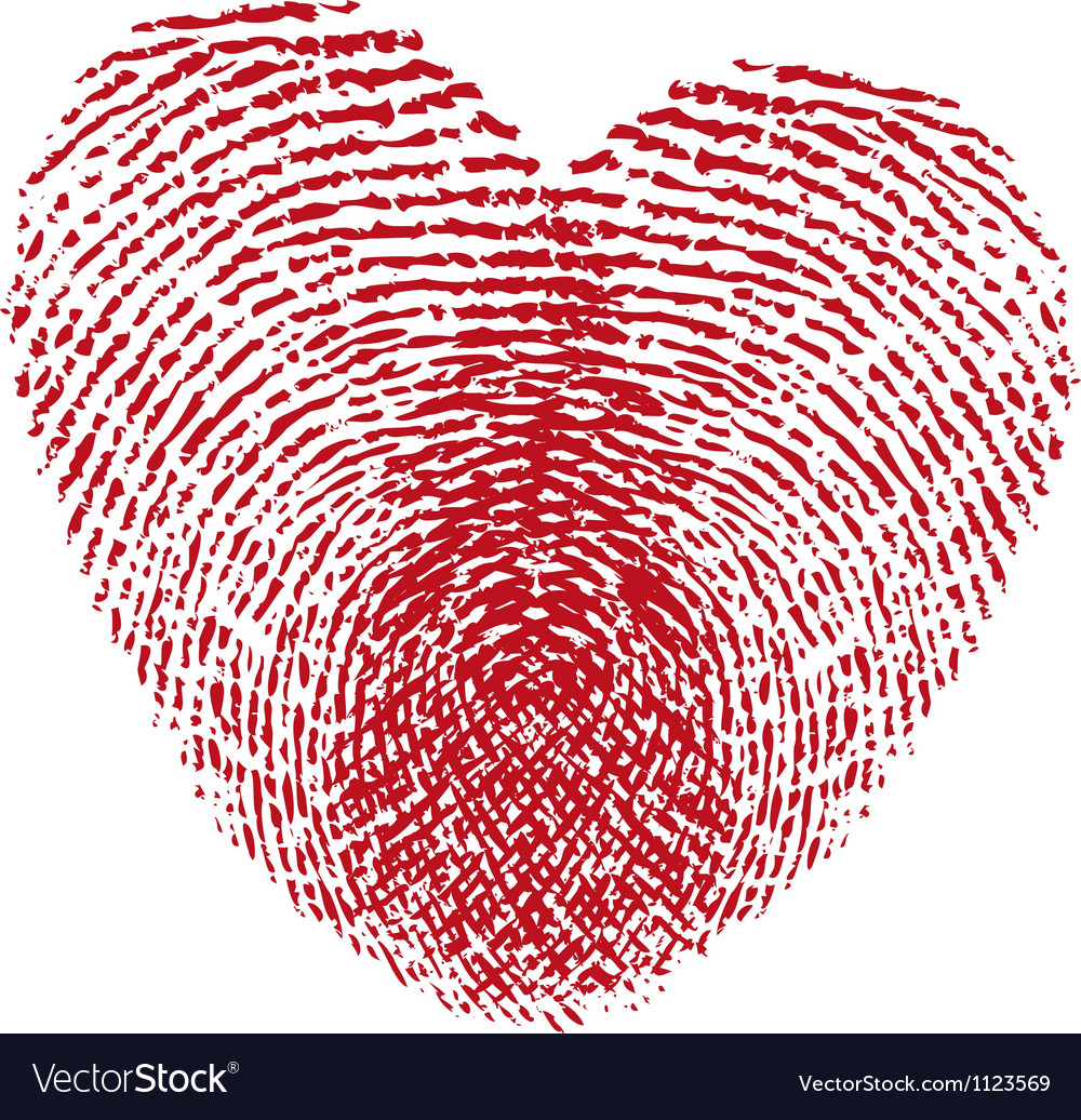 Red fingerprint heart vector