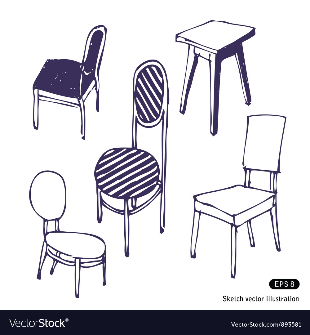 Hand drawn chairs isolated vector