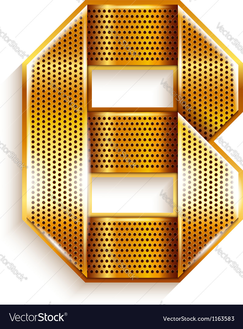 Letter metal gold ribbon  b vector