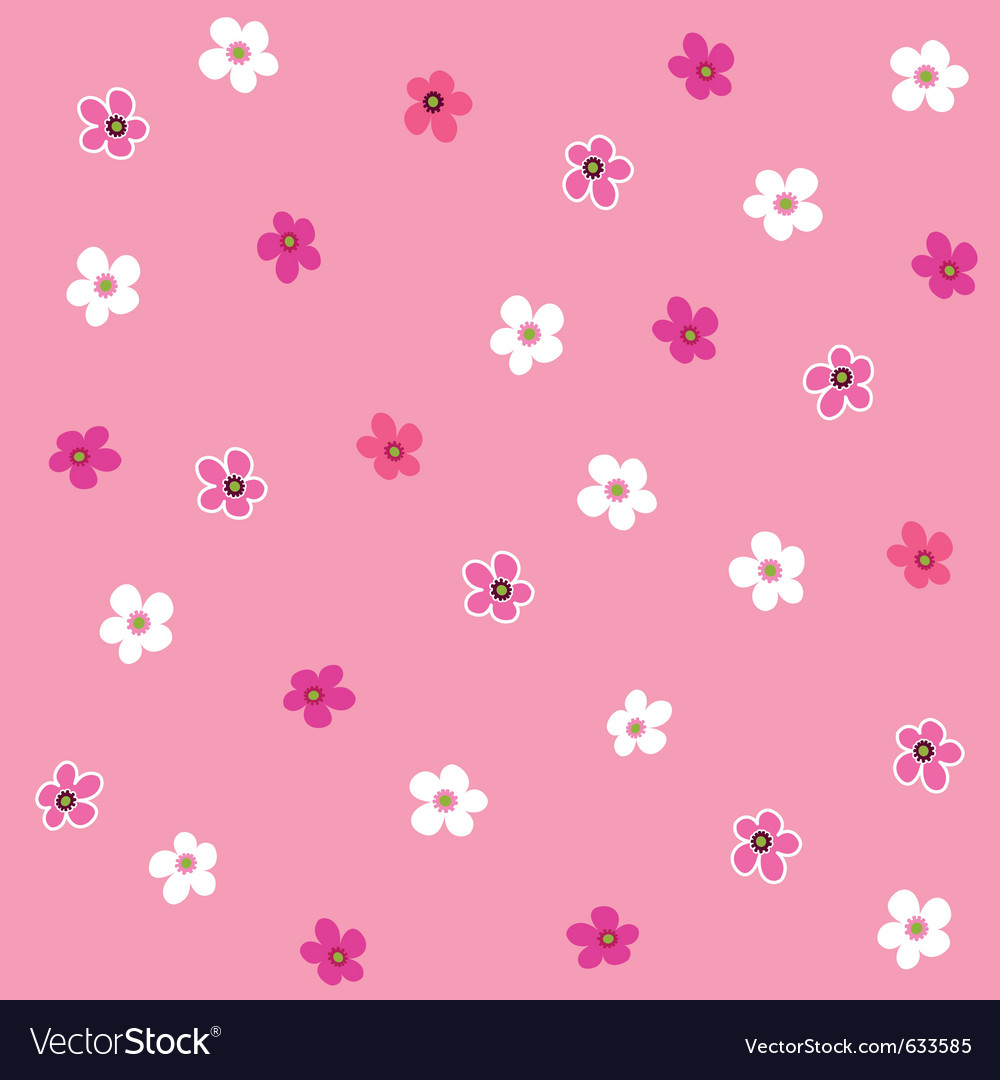 Seamless pink flower plaid pattern vector