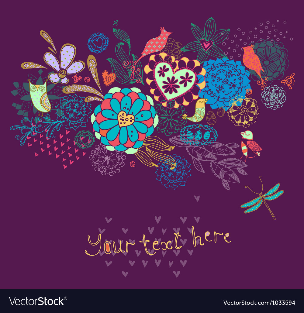 Ornament with flowers and birds bright vector