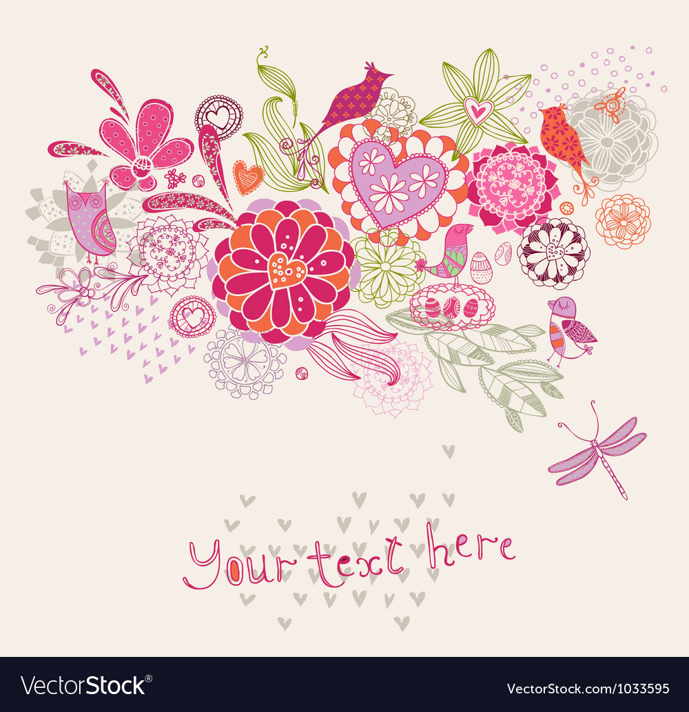 Ornament with flowers and birds vector