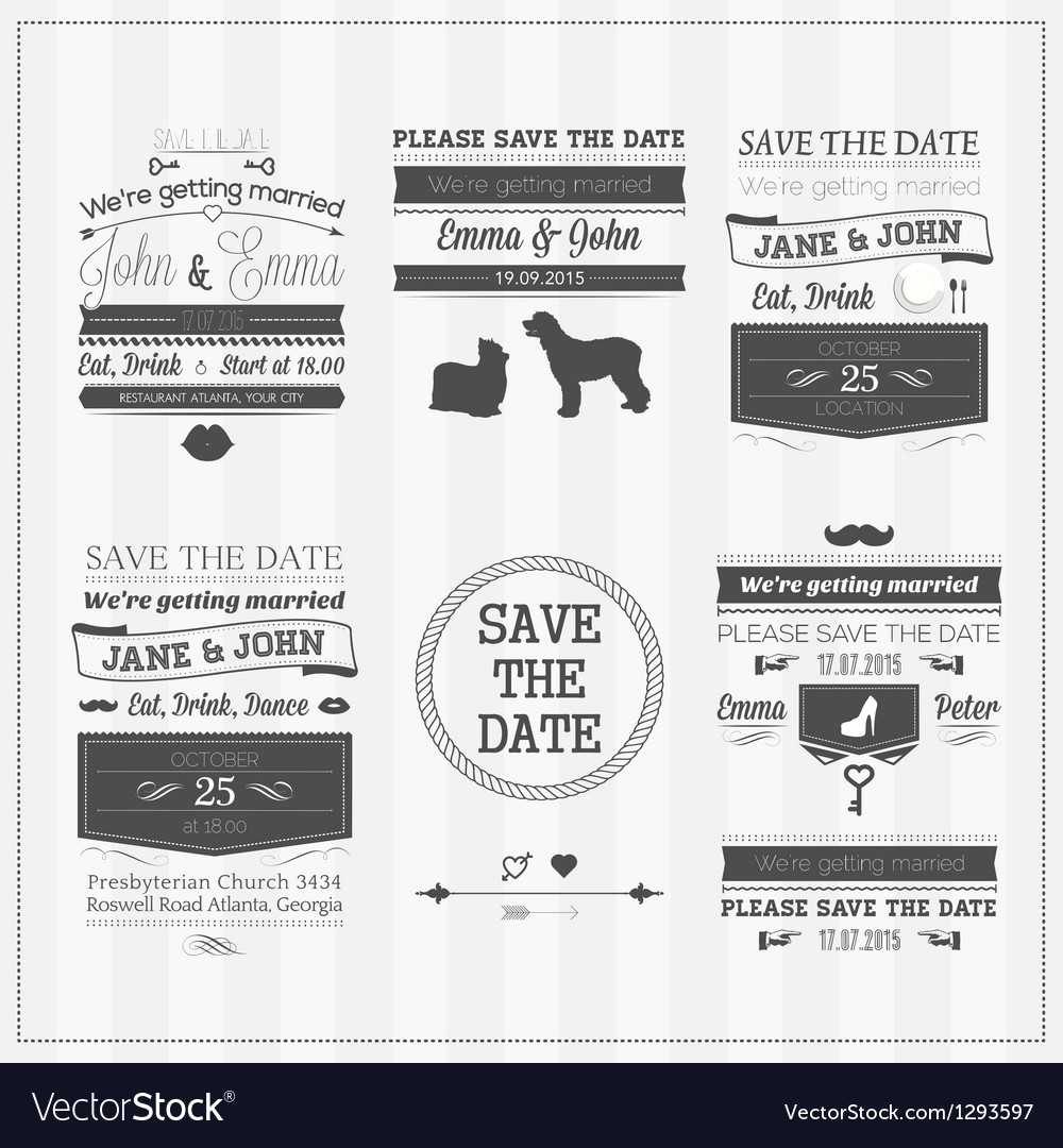 Wedding save the date vector