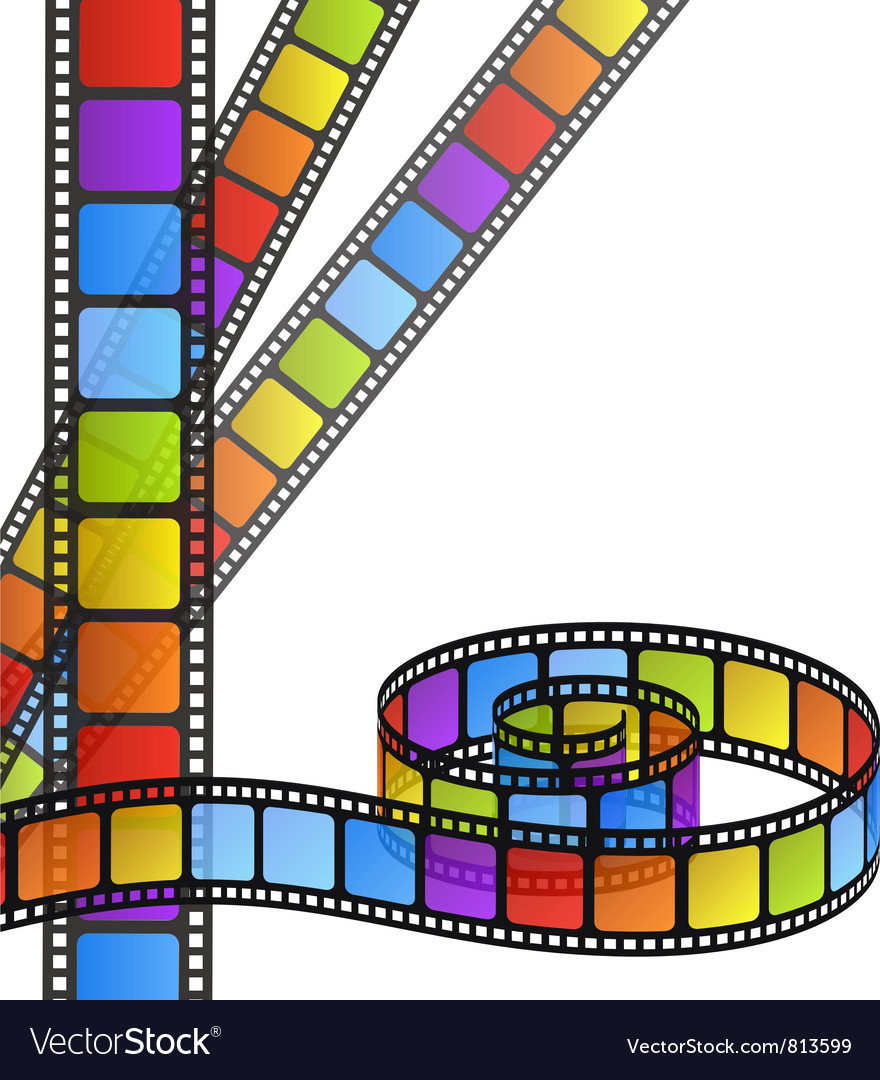 Colored film strip vector