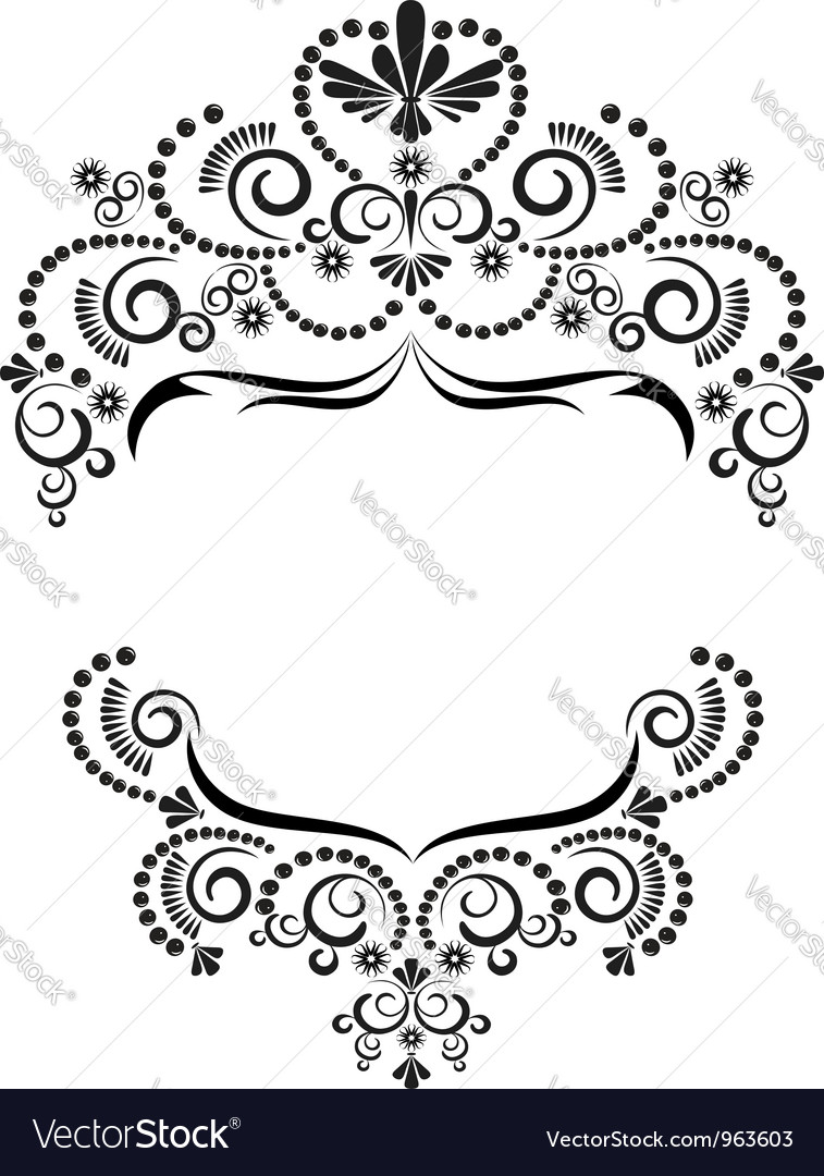 Dark ornamental frame on white background vector