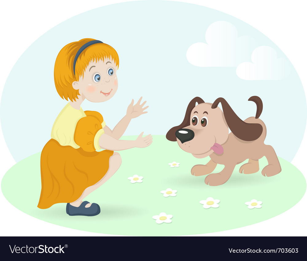 Little girl with happy dog