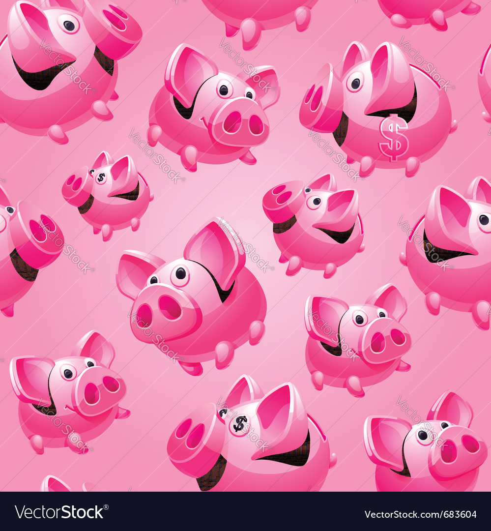 Piggy bank seamless vector