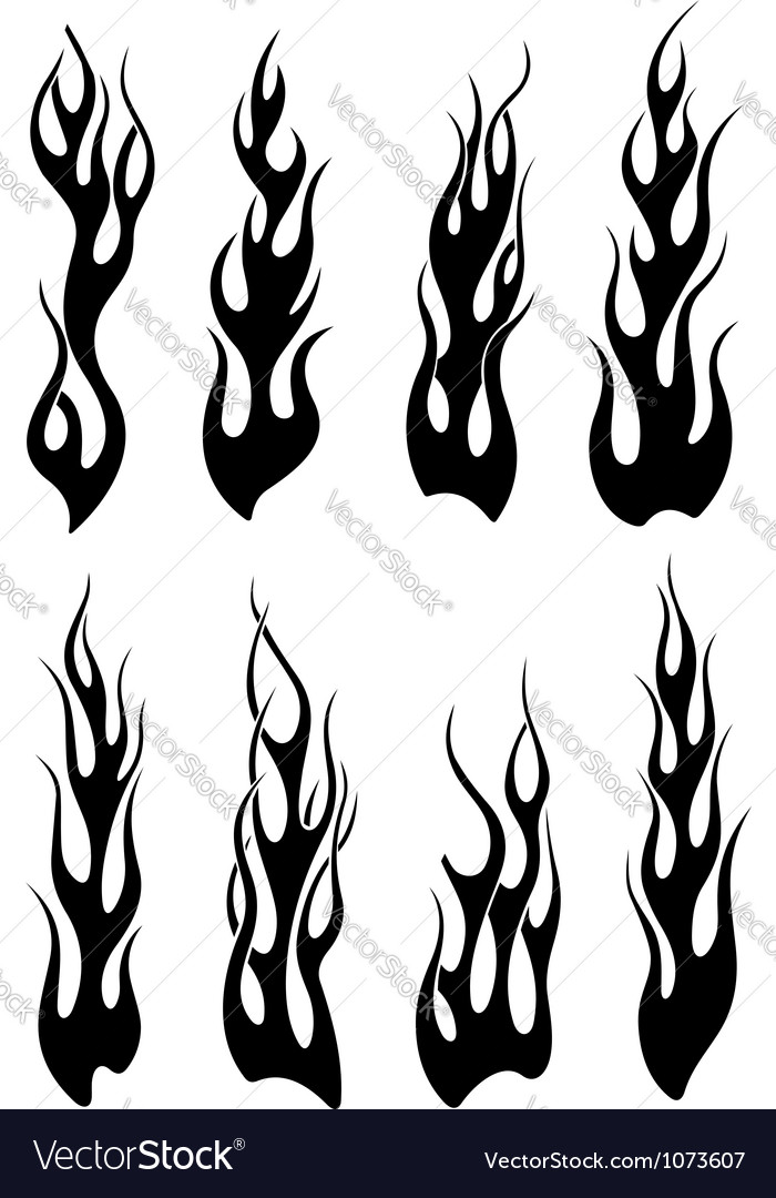 Set of black tribal flames for tattoo vector