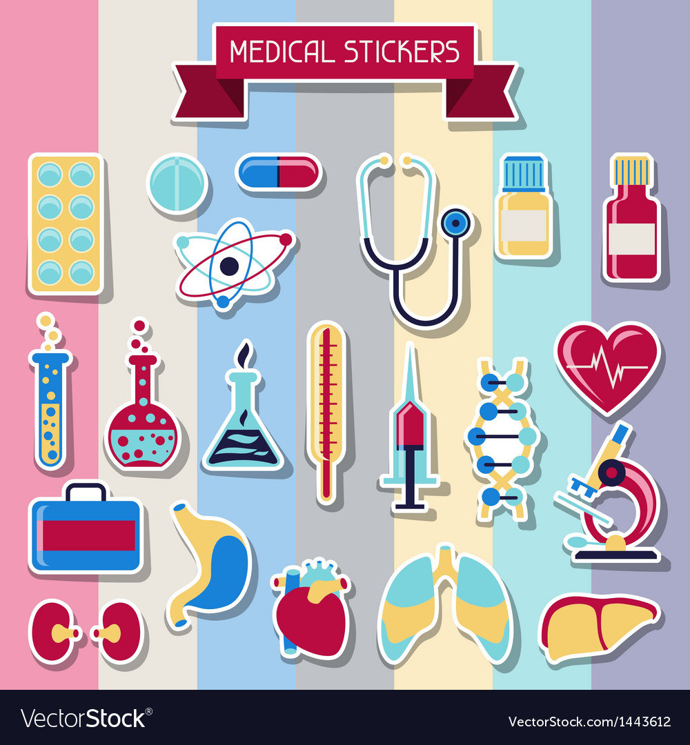 Medical and health care icons set vector