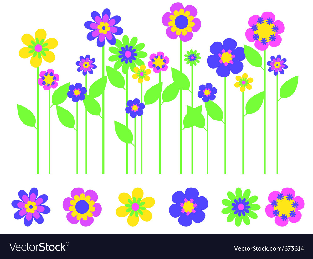 Bright flower border vector