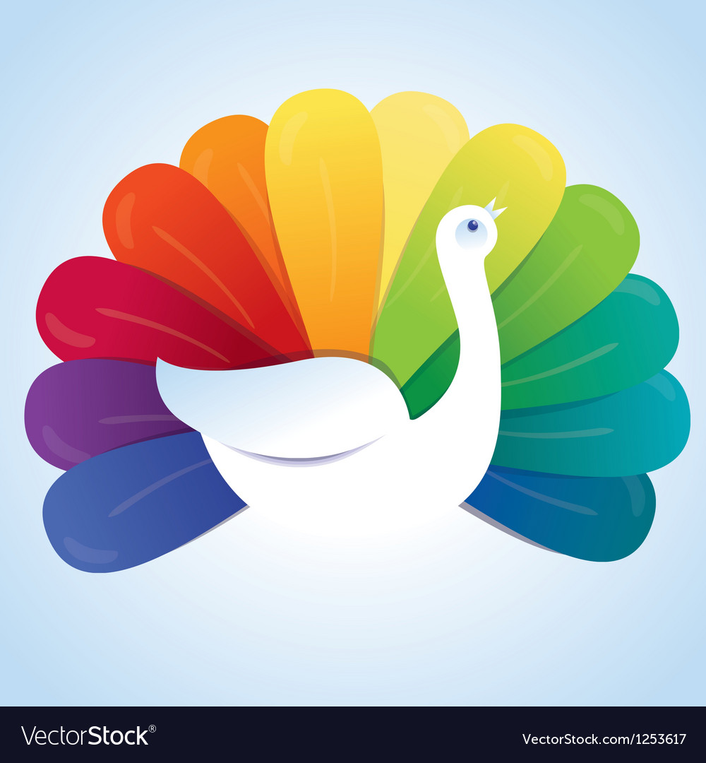 Peackok bird with rainbow feathers vector