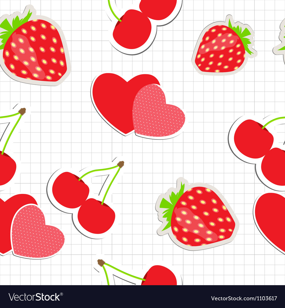 Seamless pattern with heart cherry strawberry vector