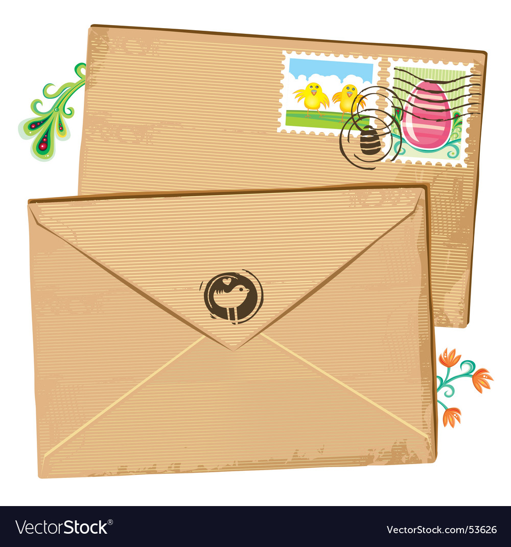 Easter envelope and stamps vector