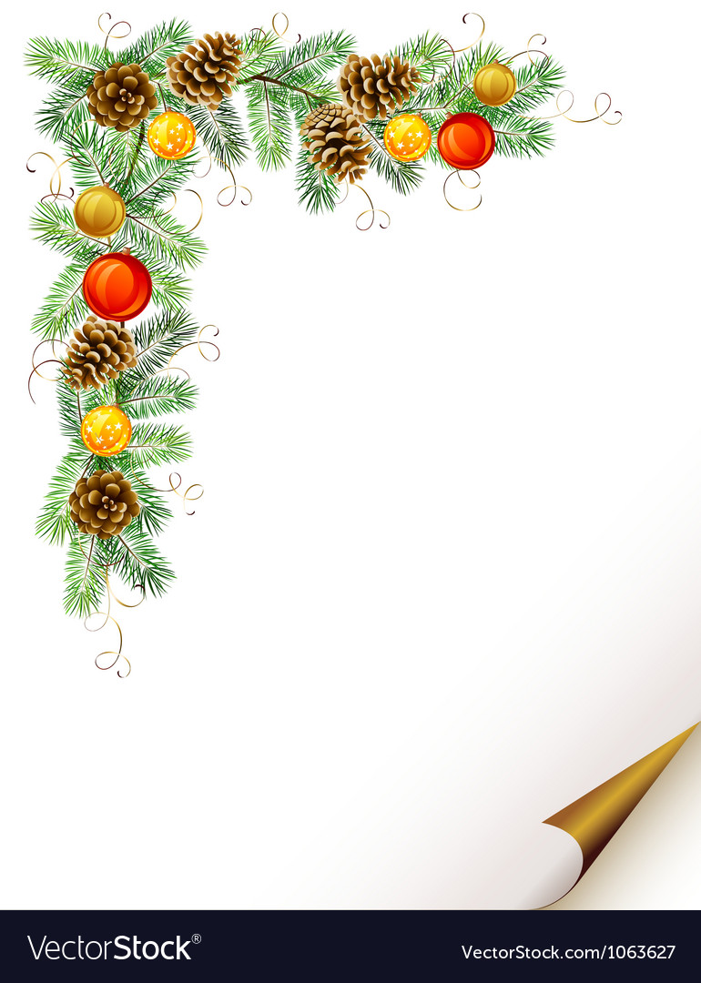 Christmas fir tree with cones vector