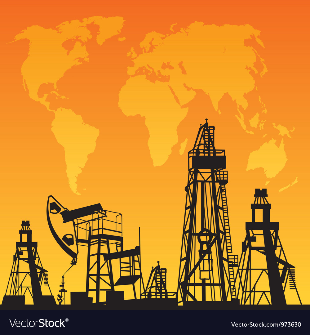Map and oil rig vector
