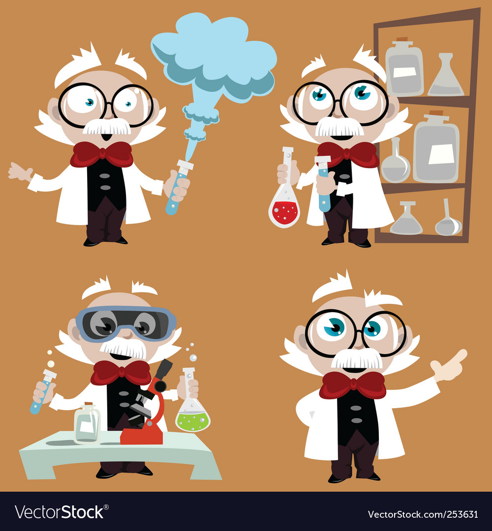 Science professor set vector