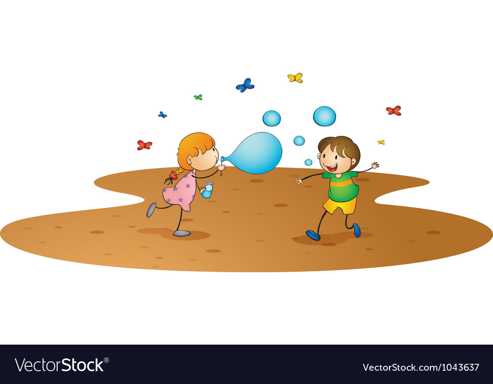 Kids playing vector