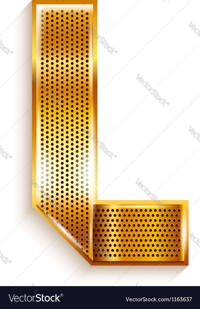 Letter metal gold ribbon  l vector