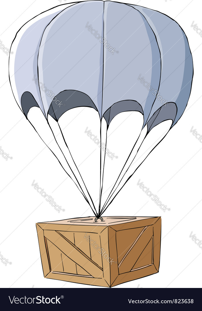 Box with a parachute vector